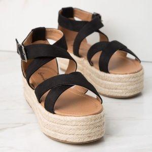 Shoes - Black Criss Cross Espadrille Platform Sandal